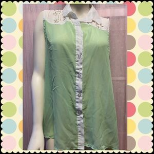 Green and white gold studded top